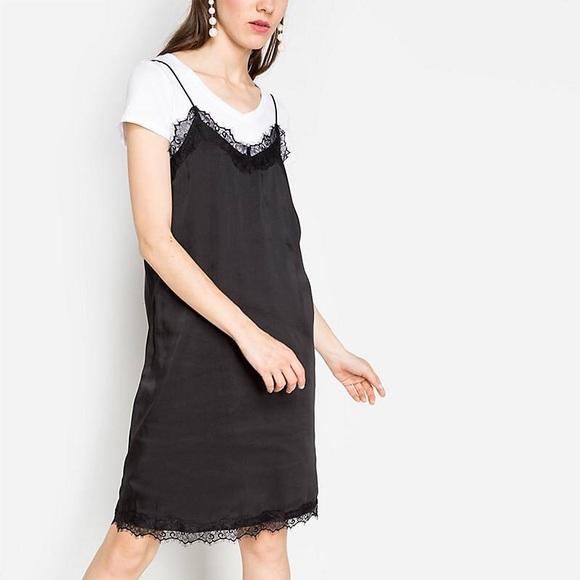 NWT Black Slip Dress Lace Hems 4